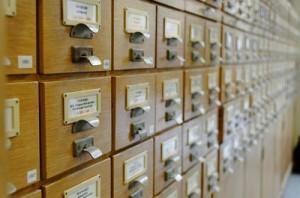 Karteikästen in der Leipziger Bibliothek