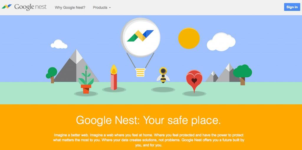Screenshot der Google-Nest website.