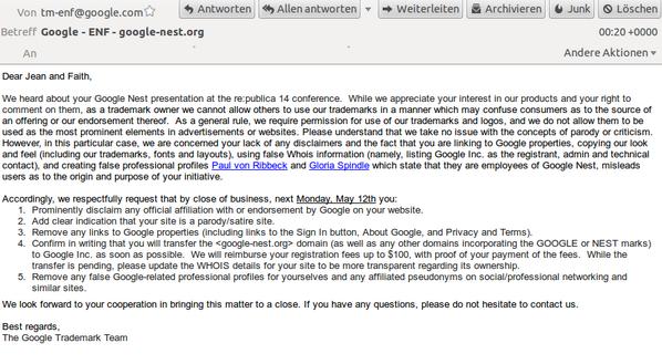 Mail von Google zum Auftritt bei der re:publica