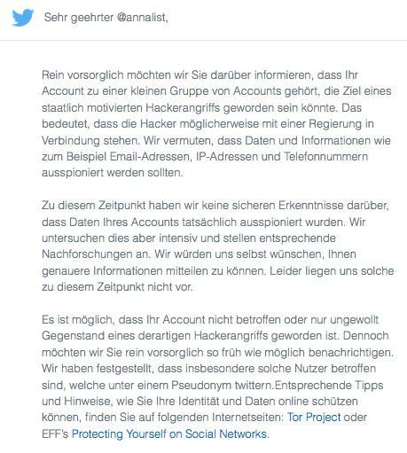 Twitter-Warn-E-Mail auf deutsch