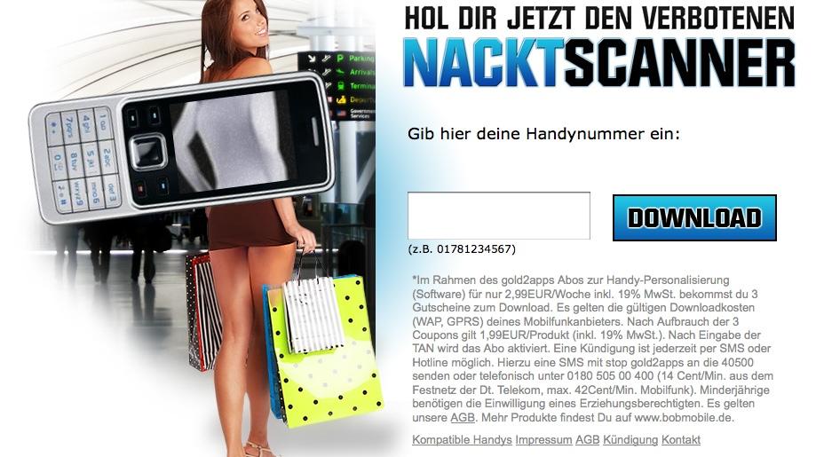 Werbung Nacktscanner