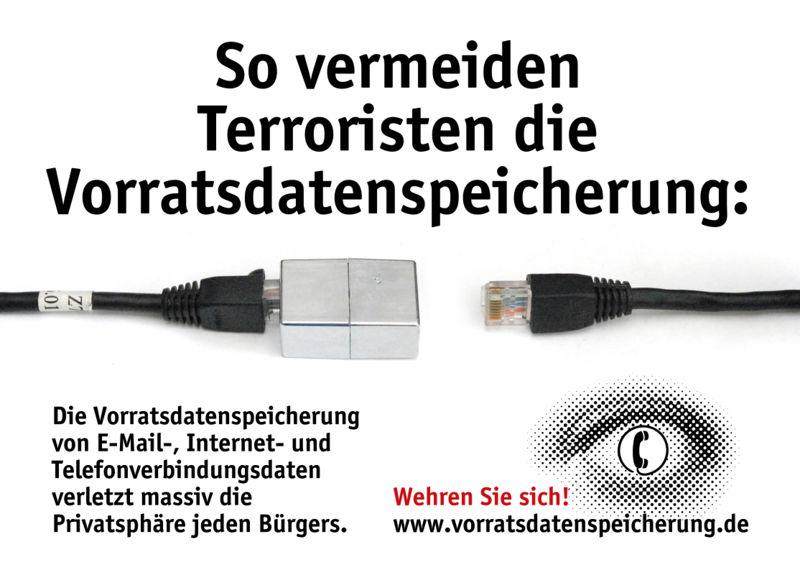 Plakat Netzwerkstecker des AK Vorrat, von Frans. CC-by-nc-nd-Lizenz http://wiki.vorratsdatenspeicherung.de/Bild:Netzwerkstecker.jpg