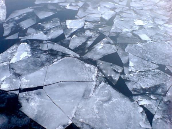 Eisschollen auf der Spree