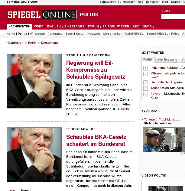 Zweimal Schäuble bei SPON, am 29.11. morgens um 1:20