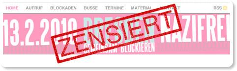 Website Dresden Nazifrei zensiert