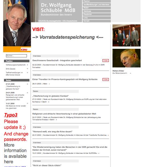 gehackte Website von Wolfgang Schäuble