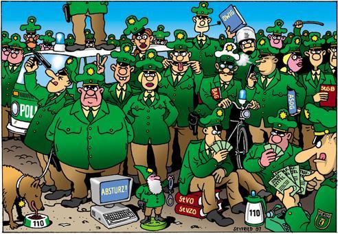 Seyfried-Cartoon mit vielen grünen Uniformen